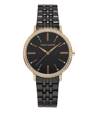 Vince Camuto Black Crystal-accent Link Watch