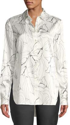 St. John Floral-Print Button-Down High-Low Silk Charmeuse Blouse