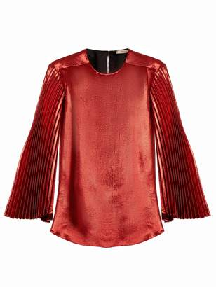 Christopher Kane Pleated-sleeve silk-blend lamé blouse