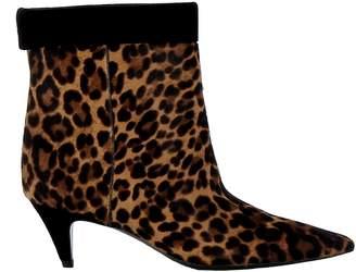 Saint Laurent Leopard Pony Hair Ankle Boots
