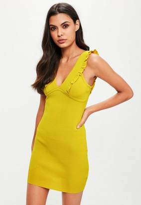 Missguided Yellow Frill Detail Knitted Mini Dress, Yellow