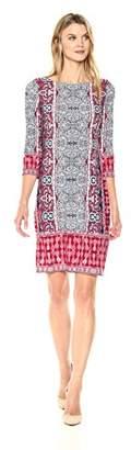 London Times Women's 3/4 Sleeve Round Neck Jersey Shift Dress