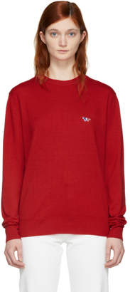 MAISON KITSUNÉ Red Wool Tricolor Fox Patch Pullover