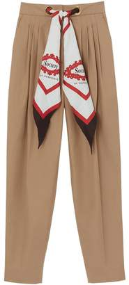 Burberry Scarf Detail Cotton Tapered Trousers