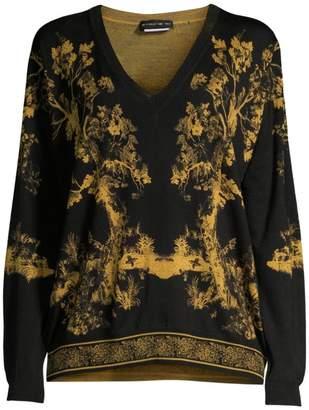 Etro Wool & Silk Forest Print V-Neck Sweater