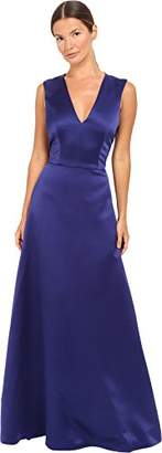Alberta Ferretti Women's Sleeveless V-Neck Satin Gown