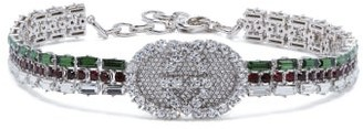 Gucci Crystal Embellished Tennis Gg Choker - Womens - Green
