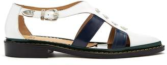 Toga Point-toe cut-out leather shoes