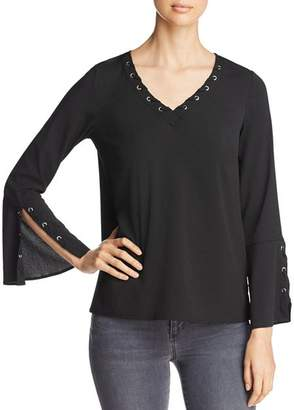 Design History Whip-Stitched Bell-Sleeve Top