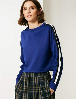Marks and Spencer Tipped Round Neck Long Sleeve Sweatshirt