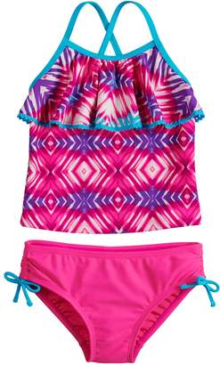 So Girls 4-6x SO Tie-Dye Flounce Tankini Top & Bottoms Swimsuit Set