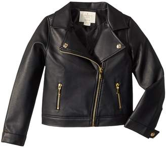 Kate Spade Kids Faux Leather Moto Jacket Girl's Coat