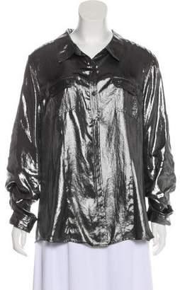 Calvin Klein Metallic Button-Up Top