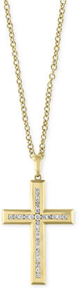 "Effy D'Oro by Men 22"" Diamond Cross Pendant Necklace (1 ct. t.w.) in 14k Gold"