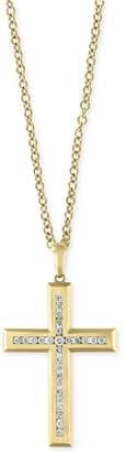 "Effy D'Oro by Men's 22"" Diamond Cross Pendant Necklace (1 ct. t.w.) in 14k Gold"