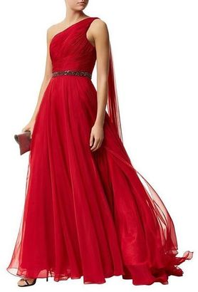Jovani - Asymmetrical Long Gown with Jeweled Waist in Burgundy 46949 $550 thestylecure.com