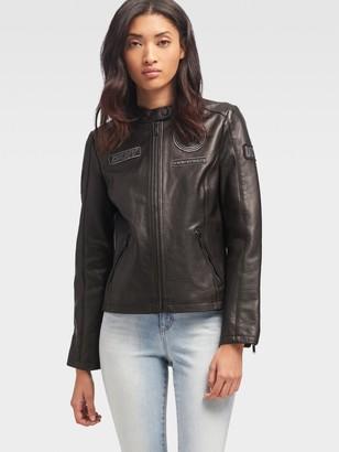 DKNY Leather Patch Jacket
