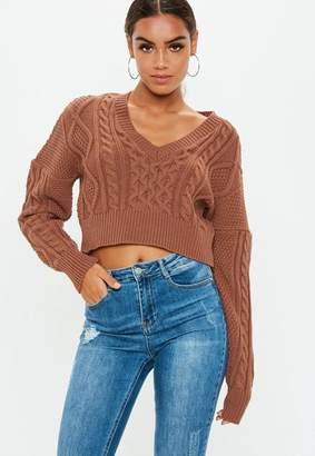 Missguided Brown V Neck Cable Knit Cropped Sweater