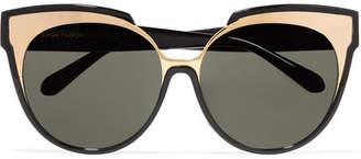 Linda Farrow Cat-eye Gold-tone And Acetate Sunglasses - Black