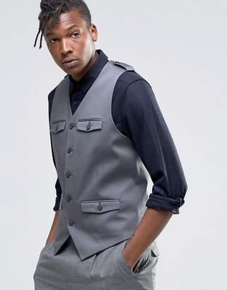 Asos DESIGN Skinny Vest With Patch Pocket Detail In gray
