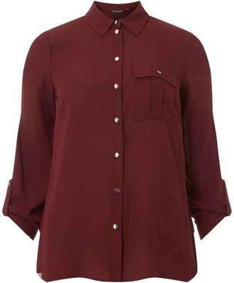 Dorothy Perkins Womens Wine Pocket Roll Sleeve Shirt