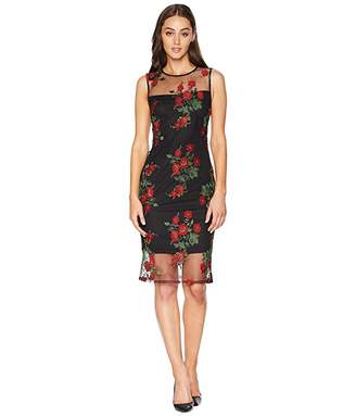 efa99844 Calvin Klein Embroidered Flower Lace Sheath Dress