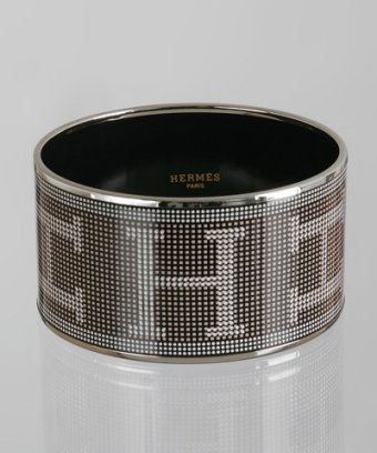 Hermes black enamel pixelated 'Recherche' wide bangle