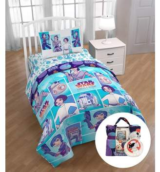 Disney Star Wars Forces of Destiny Twin Bed Set with BONUS Tote and Mini Pillow Buddy, Kid's Bedding