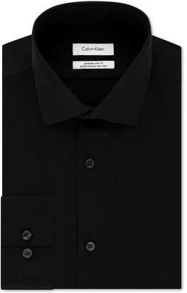 Calvin Klein Men Steel Extra-Slim Fit Non-Iron Performance Stretch Herringbone Dress Shirt