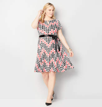 Avenue Geo Textured Fit and Flare Dress