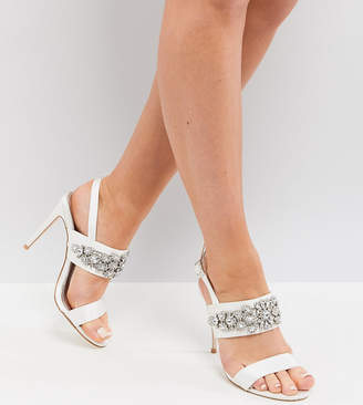 Asos Design DESIGN Willow Wide Fit bridal embellished heeled sandals