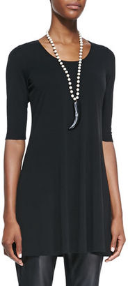 Eileen Fisher Half-Sleeve Silk Jersey Tunic, Petite $120 thestylecure.com
