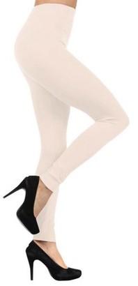 BEIGE K-Cliffs Solid Color Seamless Fleece Lined Legging, Navy