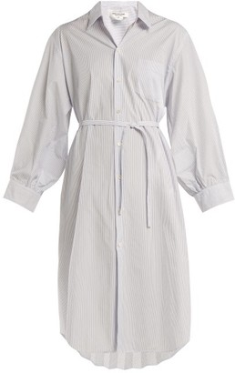 Junya Watanabe - Pleat Back Striped Poplin Shirt Dress - Womens - Light Blue