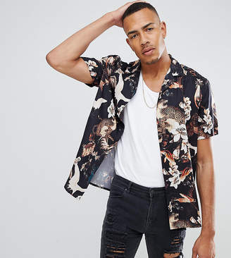 Asos Design Tall Regular Fit Floral Bird Print Shirt With Revere Collar In Black