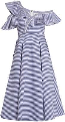 SELF-PORTRAIT One-shoulder striped cotton dress $545 thestylecure.com