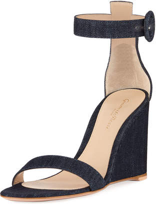 Gianvito Rossi Denim Wedge Ankle Sandals