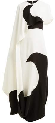 Valentino Moon Print Asymmetric Cape Silk Gown - Womens - White Black