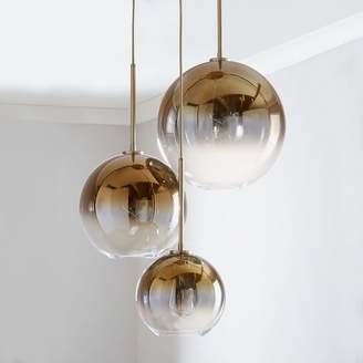 West Elm Sculptural Gl Globe 3 Light Chandelier Mixed