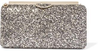 Jimmy Choo Ellipse Glittered Leather Clutch - Gold