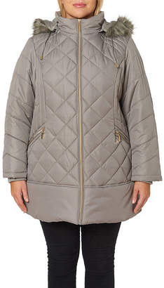 Details Woven Hooded Heavyweight Quilted Jacket-Plus
