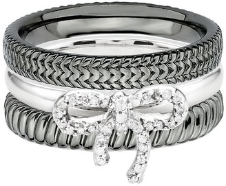 Simply Stacks Sterling Diamond Bow Ring Set