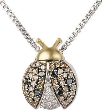 MISCELLANEOUS 14K Yellow Gold and Sterling Silver 0.25TCW Diamond Lady Bug Pendant Necklace