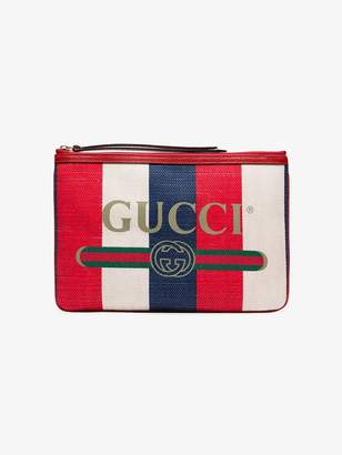 Gucci blue and red logo print canvas clutch bag