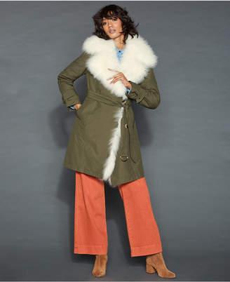 abb7a5235d2be The Fur Vault Lamb-Fur-Trim Rabbit-Lined Coat