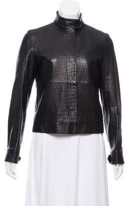 Max Mara Embossed Leather Jacket