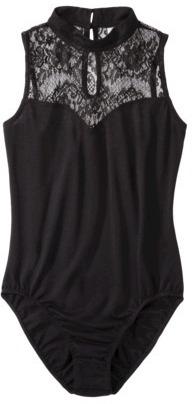 Xhilaration Juniors Lace Mock Neck Bodysuit - Black
