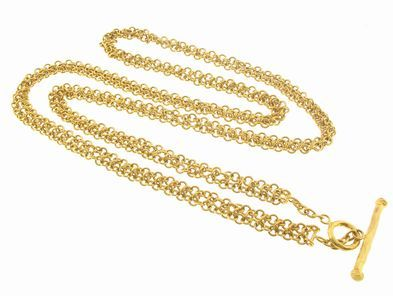 Cathy Waterman 3 Row Chainmail Necklace in 22 Karat Gold