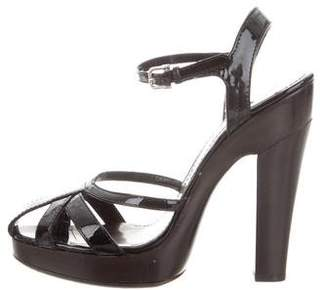 Burberry Metallic Patent Leather Sandals