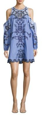 Parker Newton Pinstriped Cold Shoulder Dress $398 thestylecure.com